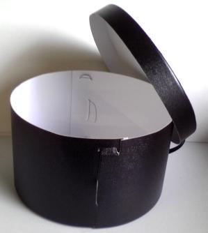 帽子の丸箱。黒い帽子の丸い箱です。