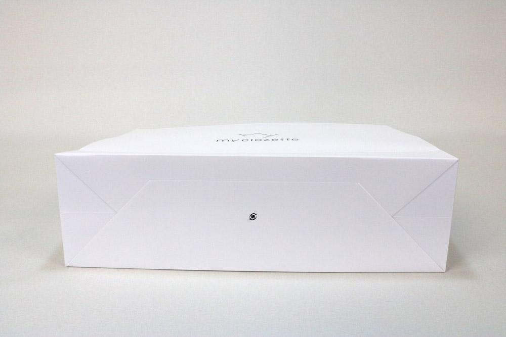 コート紙 表面マットPP貼りターントップ仕様、オフセット1色印刷(ベタ無し)の別注紙袋の底面画像