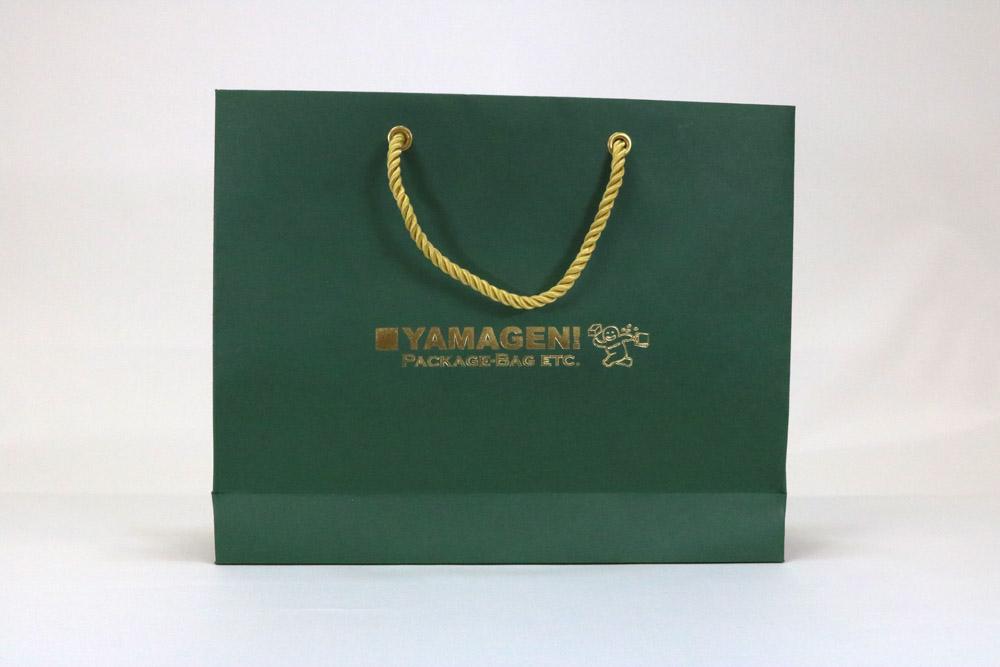ビオトープGA(フォレストグリーン)表面加工なし、箔押艶金1色の別注紙袋の正面画像