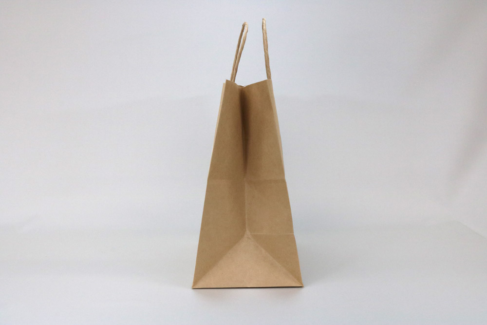 未晒クラフト(茶)自動手付丸紐、シルク印刷1色のセミオーダー紙袋の側面画像