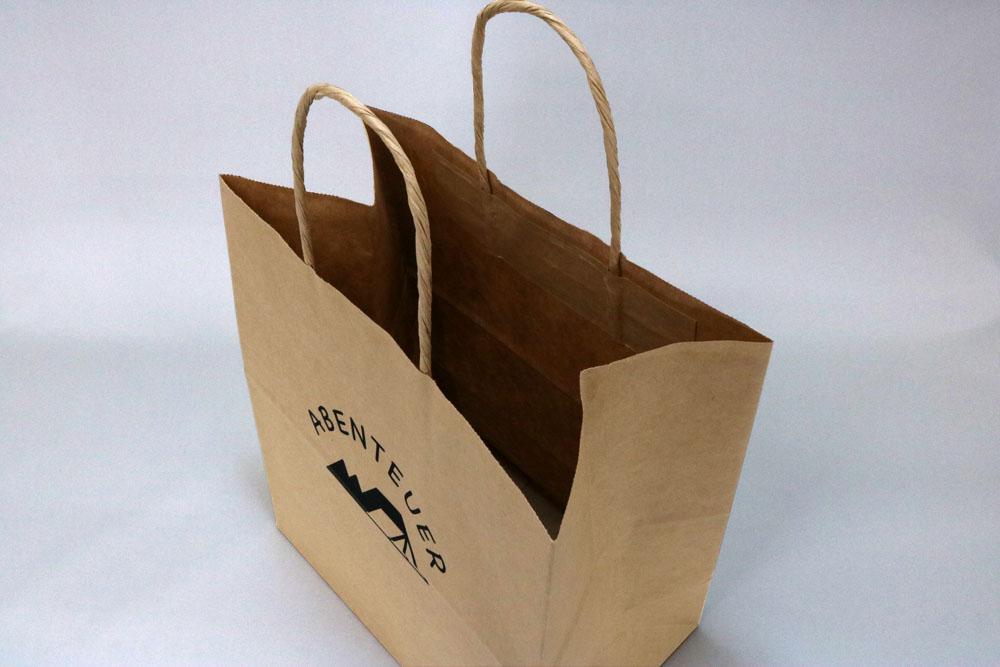 未晒クラフト(茶)自動手付丸紐、シルク印刷1色のセミオーダー紙袋の入れ口画像