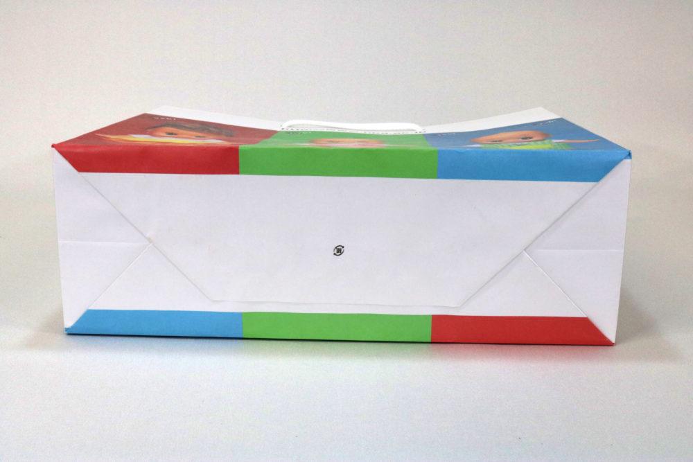 晒クラフト(白)表面加工なし、オフセット4色印刷の別注紙袋の底面画像
