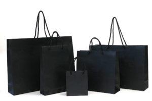 ブランド系マットブラック紙袋とマットホワイト紙袋