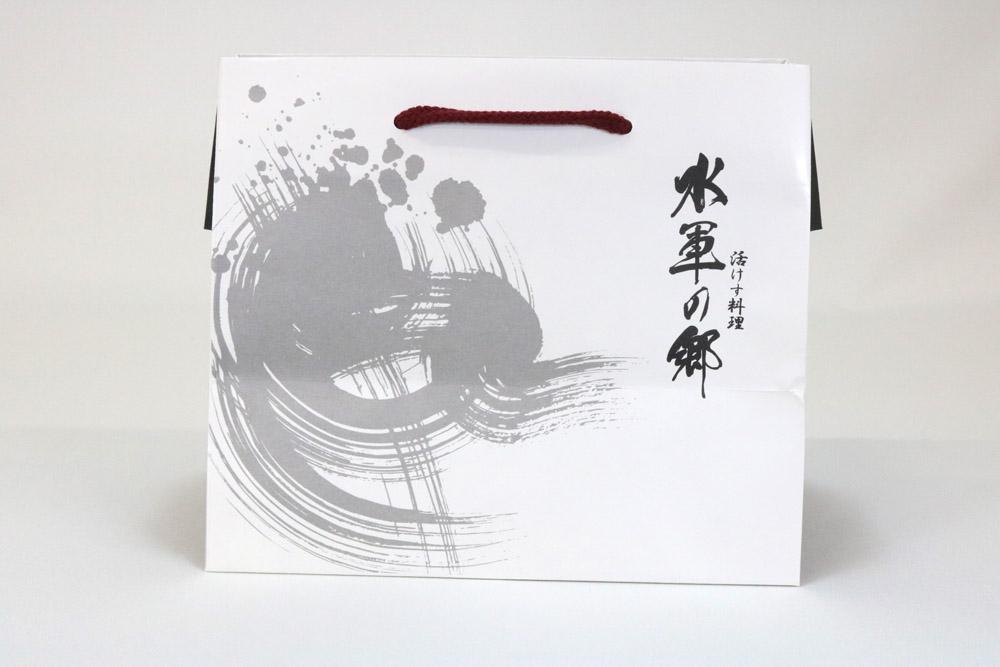 片艶クラフト(白)表面加工なし、オフセット1色印刷(アミあり)の別注紙袋の正面画像