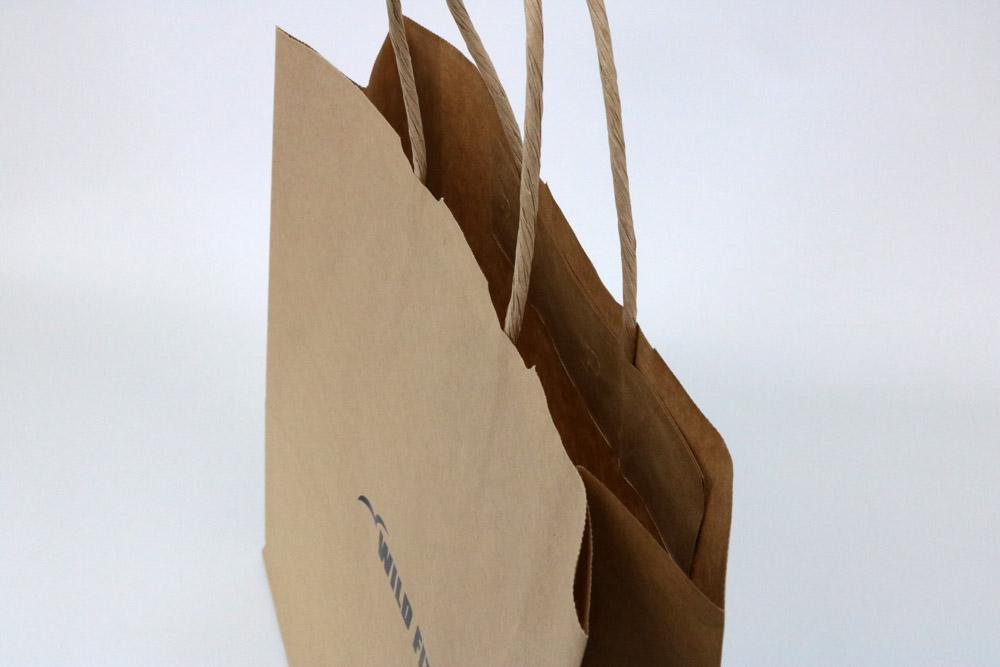 未晒クラフト、片面1カ所箔押しのセミオーダー紙袋の入れ口画像