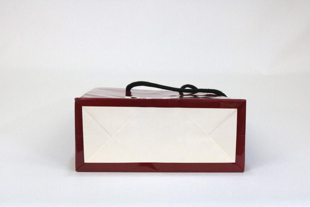 コート紙 表面グロスPP貼り、オフセットベタ1色印刷の別注紙袋の底面画像