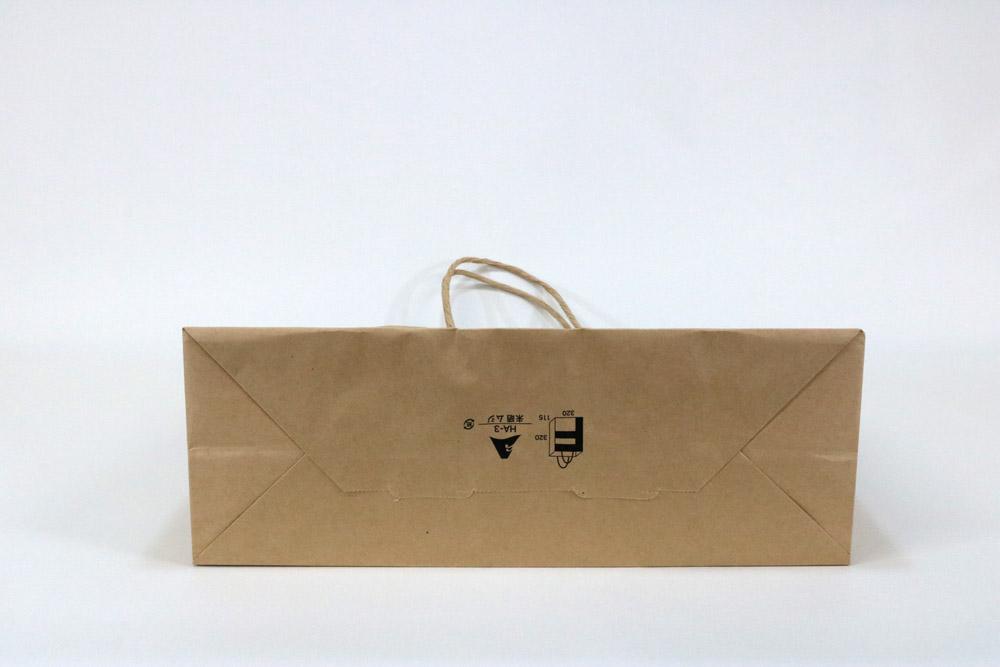 未晒クラフト、片面1カ所箔押しのセミオーダー紙袋の底面画像