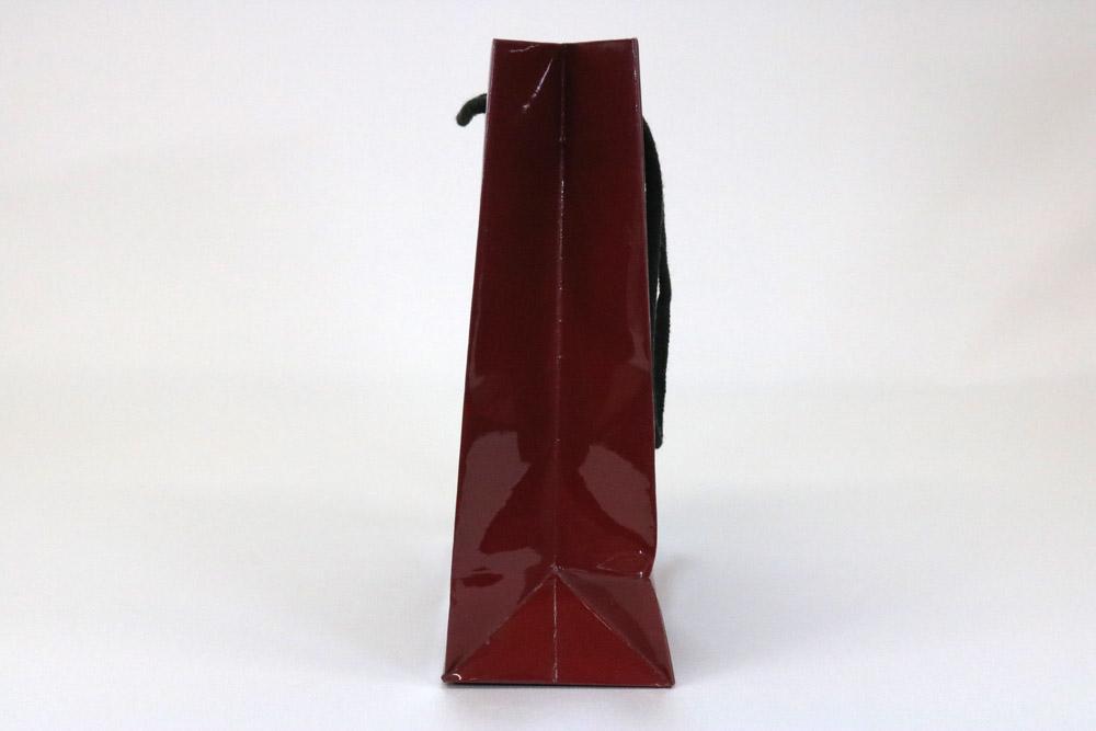 コート紙 表面グロスPP貼り、オフセットベタ1色印刷の別注紙袋の側面画像