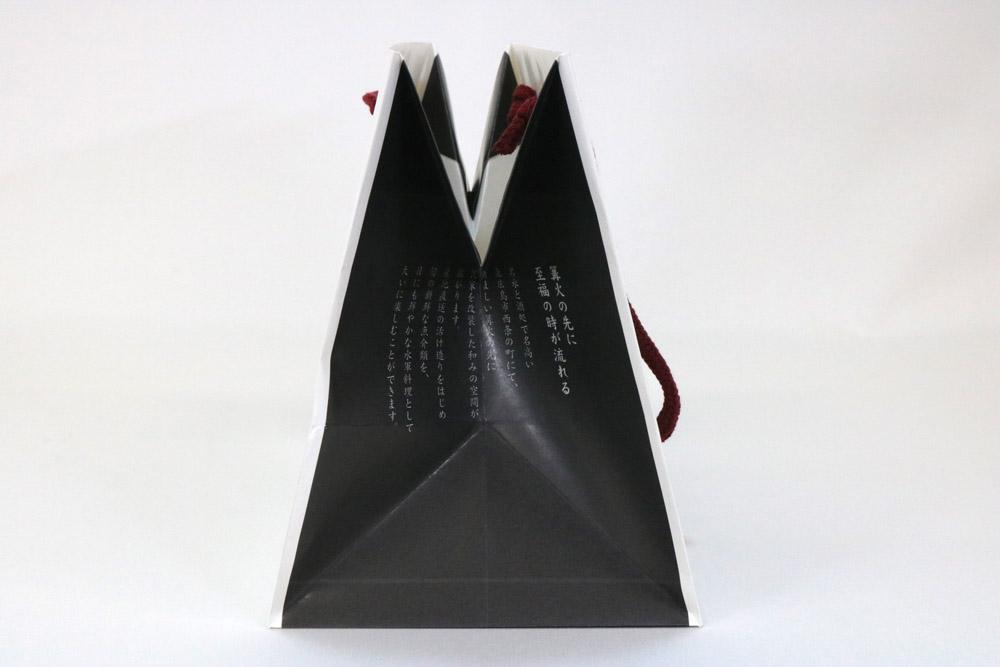 片艶クラフト(白)表面加工なし、オフセット1色印刷(アミあり)の別注紙袋の側面画像