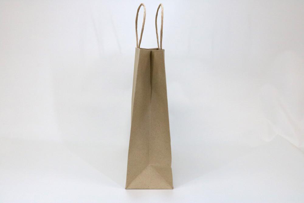 未晒クラフト(古紙100%)表面加工なし、シルク印刷1色のセミオーダー紙袋の側面画像