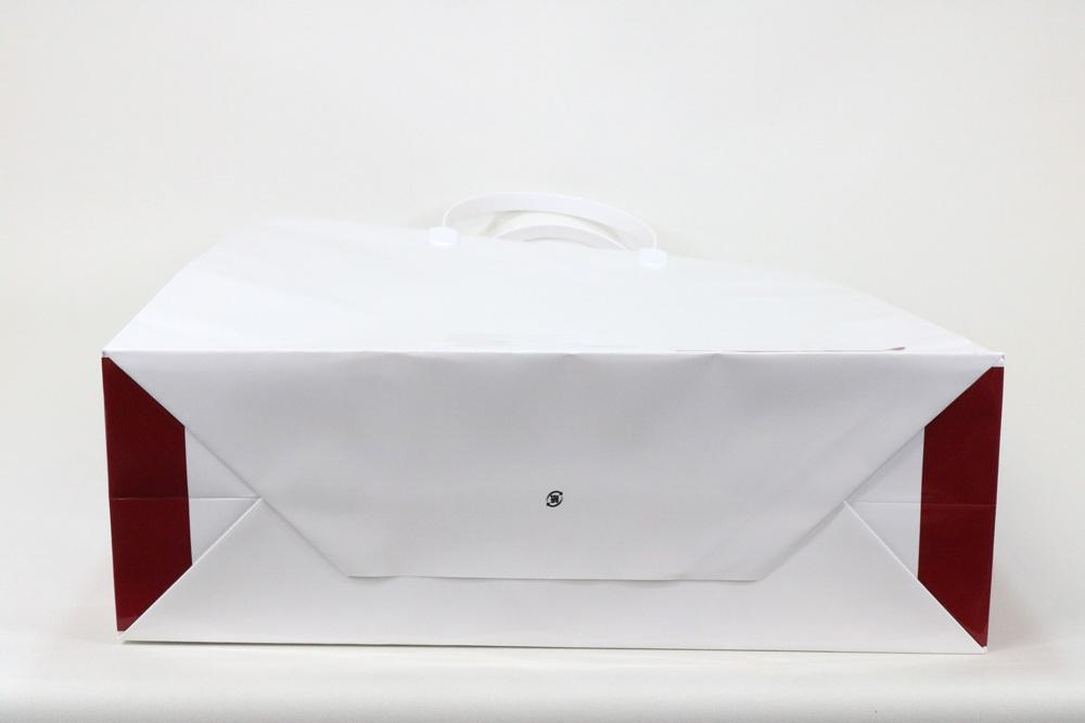 コート紙表面グロスPP貼り、オフセット印刷2色の別注紙袋の底面画像