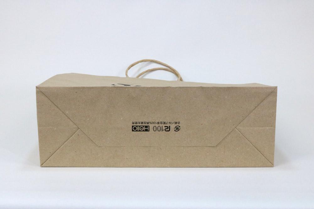 未晒クラフト(古紙100%)表面加工なし、シルク印刷1色のセミオーダー紙袋の底面画像