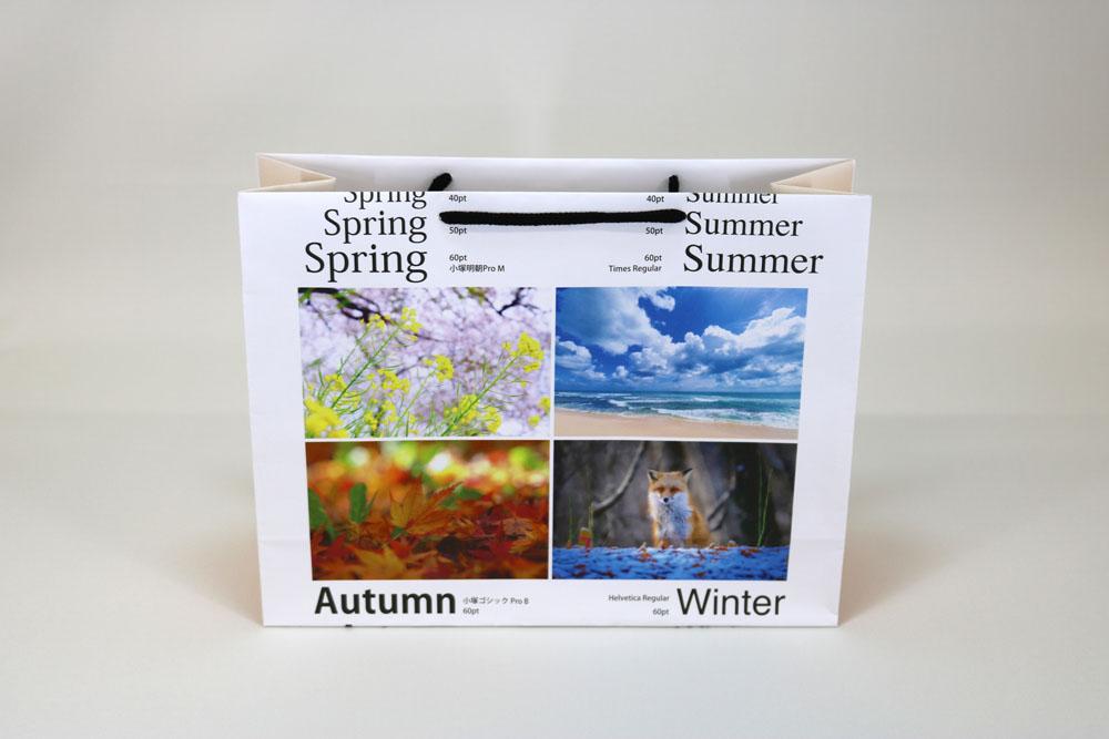 晒クラフト120g/㎡表面加工無し、オンデマンド印刷カラー4色の別注紙袋の正面画像