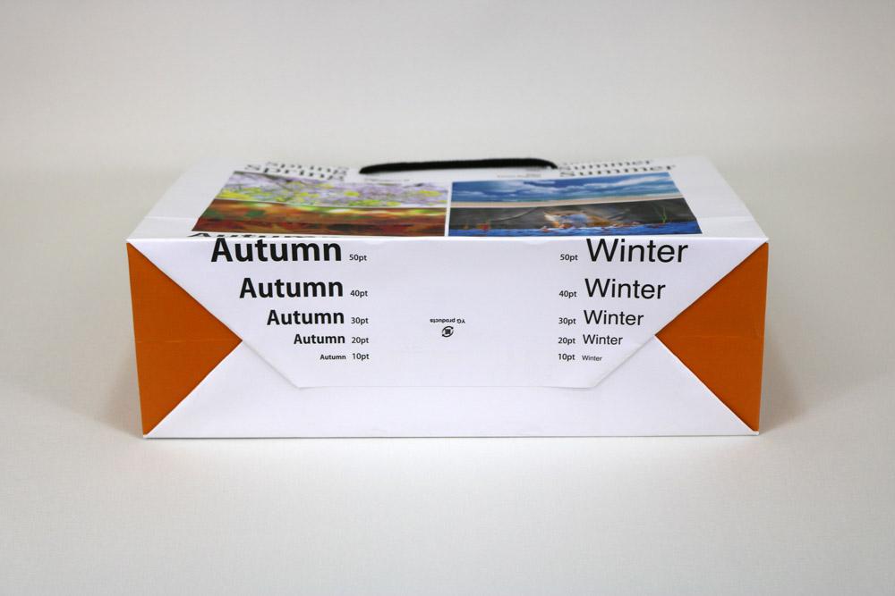 晒クラフト120g/㎡表面加工無し、オンデマンド印刷カラー4色の別注紙袋の底面画像