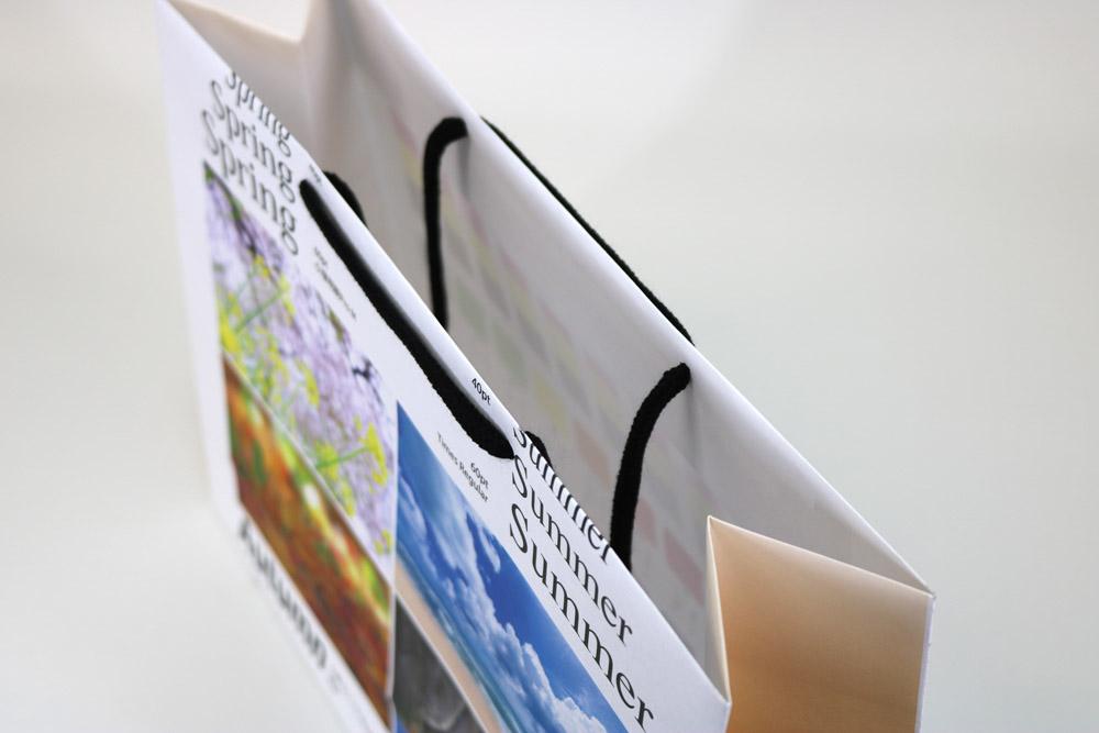 晒クラフト120g/㎡表面加工無し、オンデマンド印刷カラー4色の別注紙袋の入れ口画像