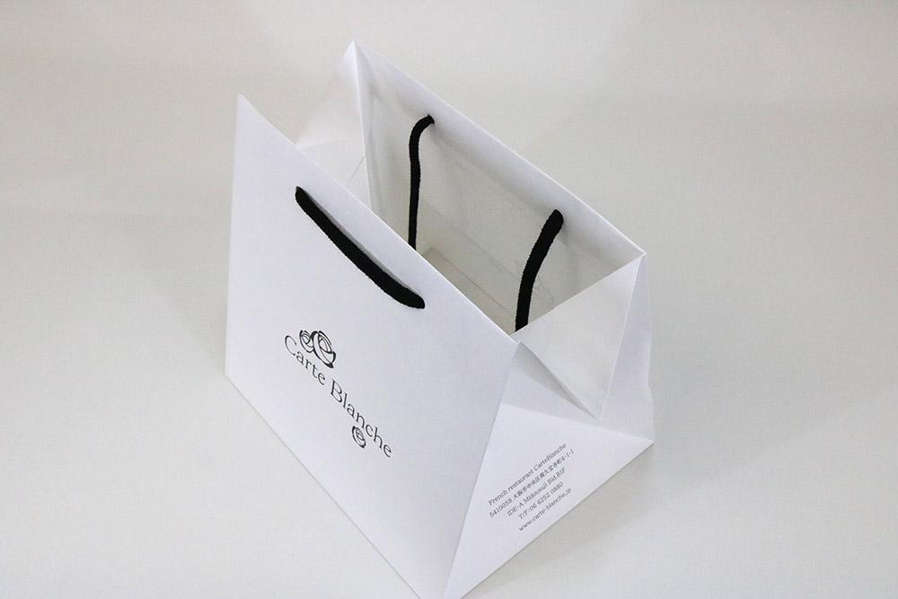 晒クラフト120g/㎡表面加工なし、オフセット印刷1色の別注紙袋の入れ口画像