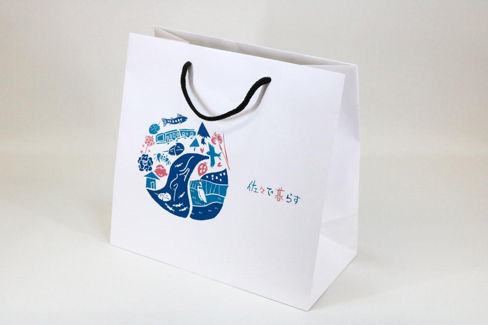 コート紙表面マットPP貼り、オフセット印刷カラー4色の別注紙袋