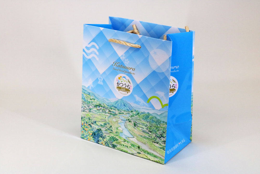 コート紙表面グロスPP貼り、オフセット印刷カラー4色の別注紙袋