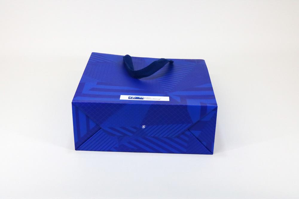 コート紙表面マットPP貼り、オフセット印刷カラー4色の別注紙袋の底面画像