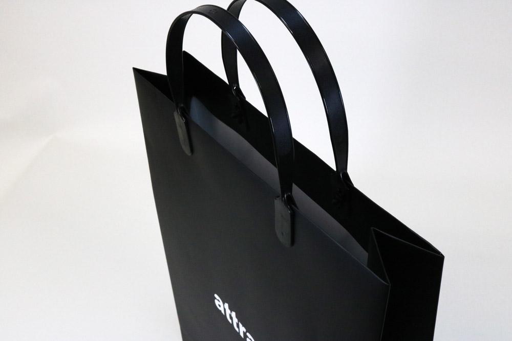 コート紙表面マットPP貼り、オフセット印刷ベタ1色の別注紙袋の入れ口画像