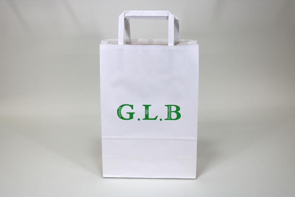 晒クラフト120g/㎡自動手付平紐、フレキソ印刷1色の別注紙袋の正面画像