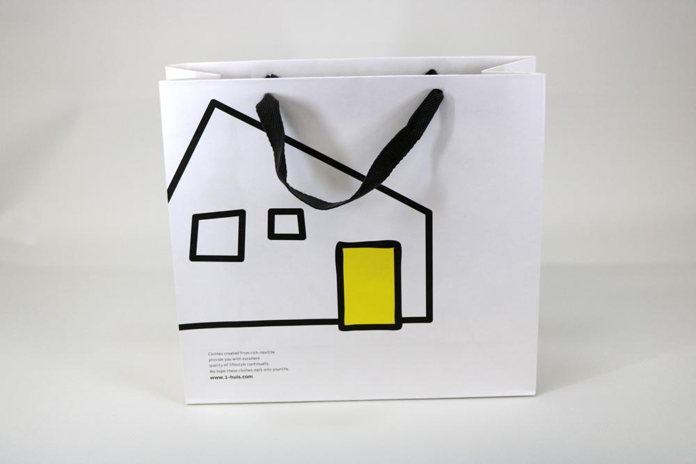 晒クラフト120g/㎡表面加工無し、オフセット印刷2色の別注紙袋の正面画像
