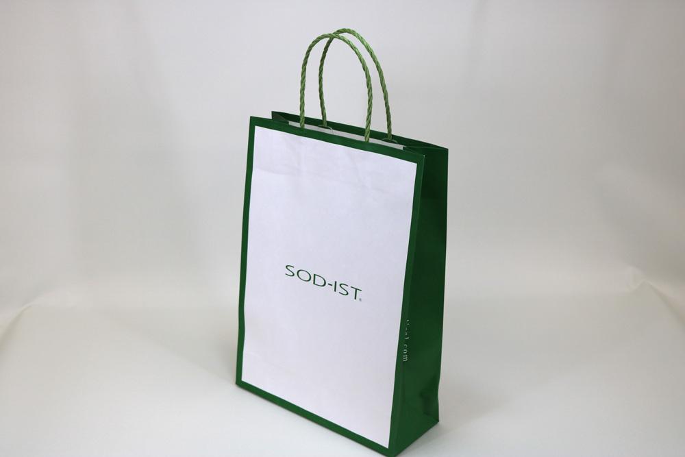 晒クラフト120g/㎡自動手付紐、オフセット印刷1色の別注紙袋