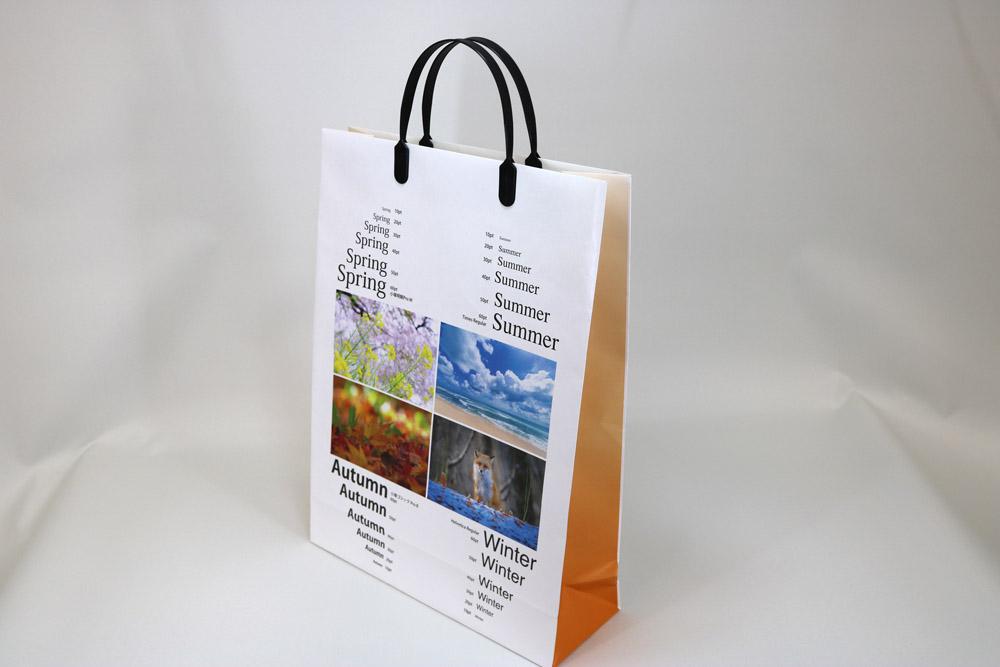 片艶クラフト120g/㎡表面OPニス加工、オンデマンド印刷カラー4色の別注紙袋
