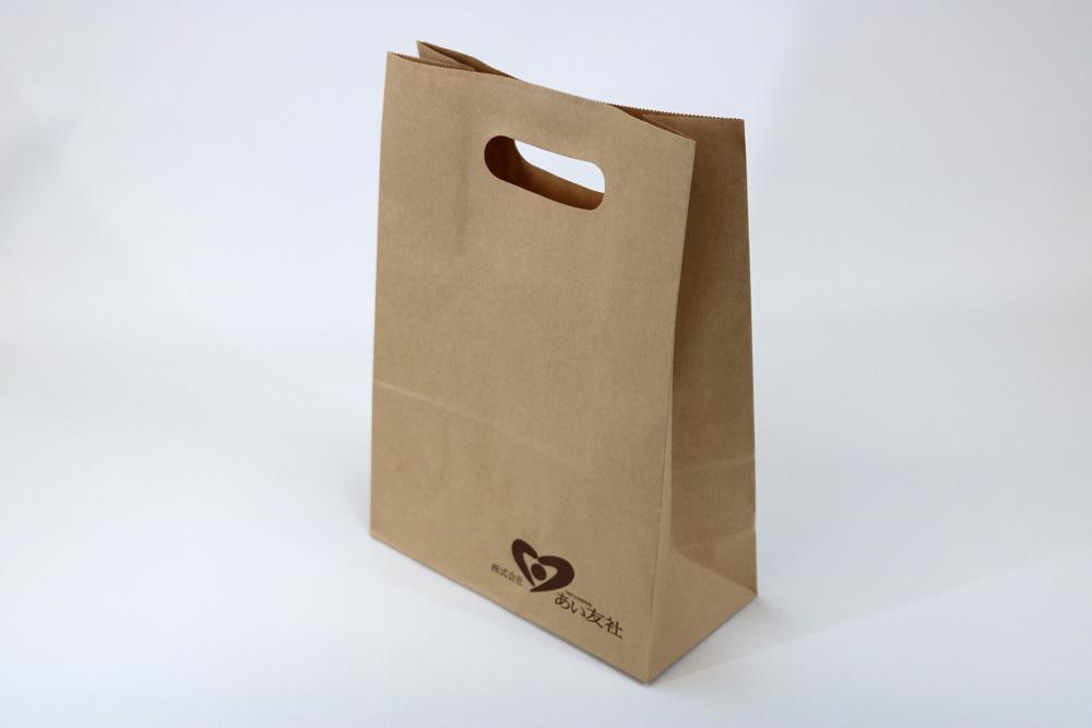 未晒クラフト80g/㎡小判抜きタイプ、フレキソ印刷1色の別注紙袋