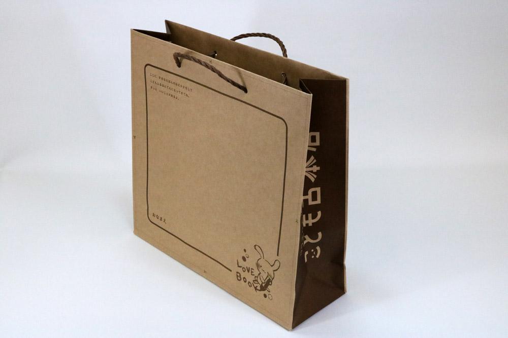 未晒クラフト120g/㎡表面加工なし、オフセット印刷1色の別注紙袋