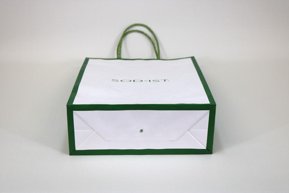 晒クラフト120g/㎡自動手付紐、オフセット印刷1色の別注紙袋の側面画像