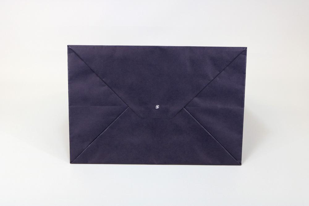 晒クラフト120g/㎡表面加工無し、オフセット印刷ベタ1色+ニス引きの別注紙袋の底面画像