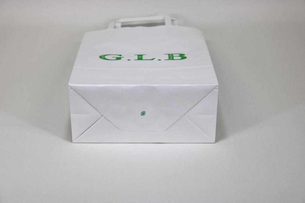 晒クラフト120g/㎡自動手付平紐、フレキソ印刷1色の別注紙袋の底面画像