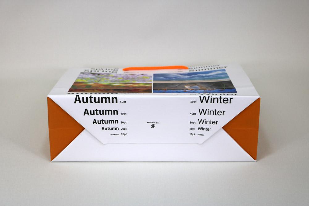 コート紙表面マットPP貼り、オンデマンド印刷カラー4色の別注紙袋の底面画像