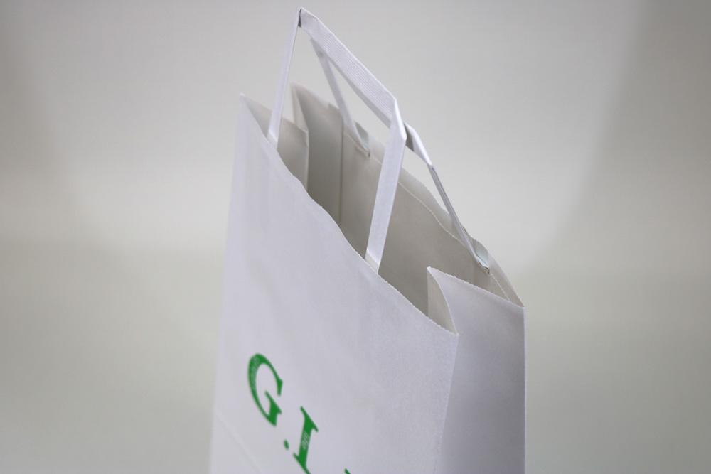 晒クラフト120g/㎡自動手付平紐、フレキソ印刷1色の別注紙袋の入れ口画像