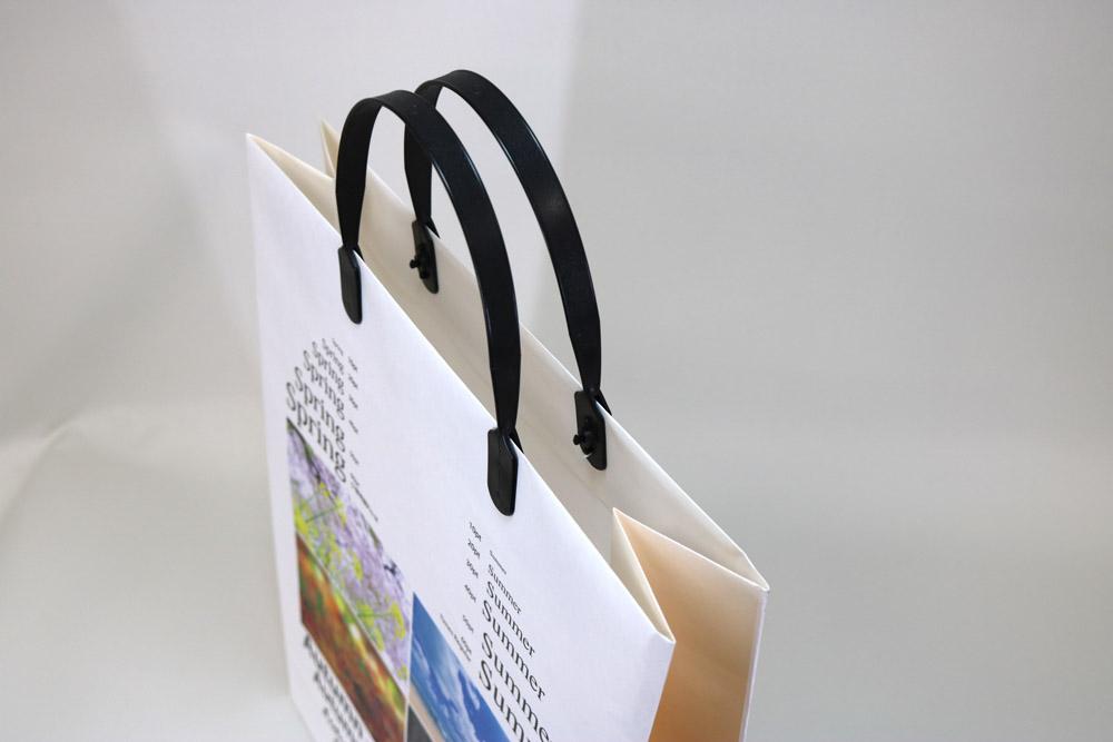 片艶クラフト120g/㎡表面OPニス加工、オンデマンド印刷カラー4色の別注紙袋の入れ口画像