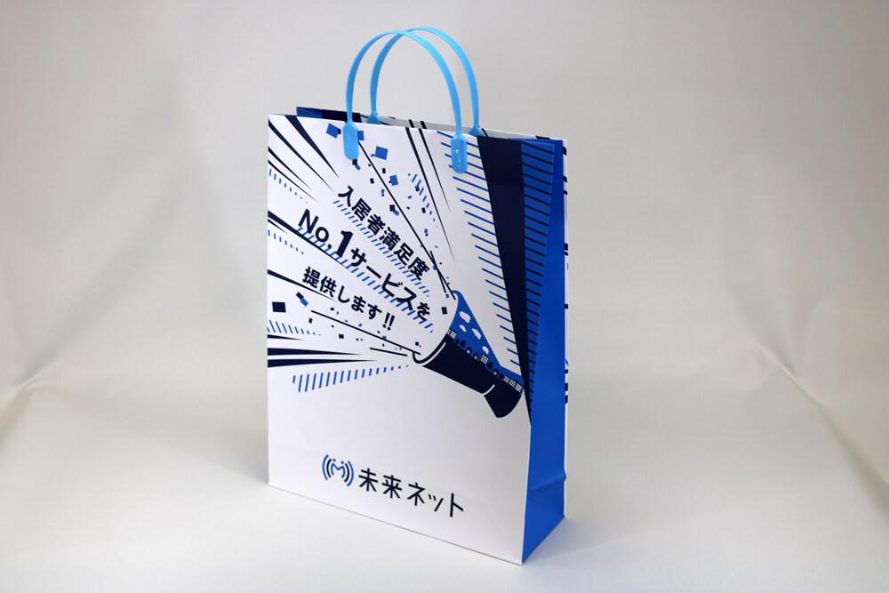 コート紙表面マットPP貼り、オフセット印刷2色の別注紙袋