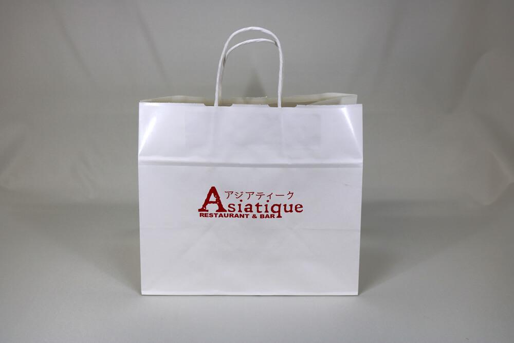 片艶クラフト(白)表面加工なし、シルク印刷1色のセミオーダー紙袋の正面画像