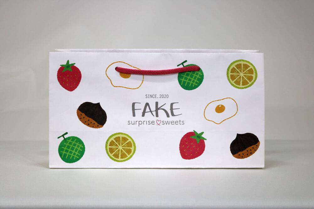 晒クラフト120g/㎡、オフセット印刷カラー4色の別注紙袋の正面画像