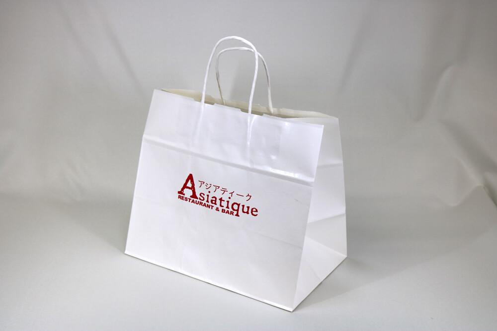 片艶クラフト(白)表面加工なし、シルク印刷1色のセミオーダー紙袋