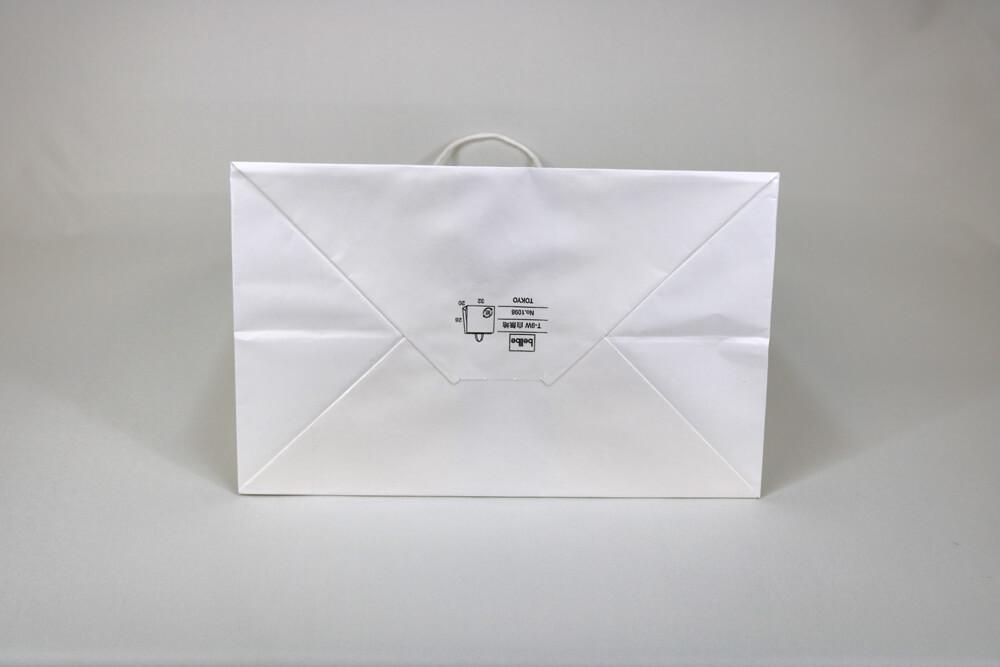 片艶クラフト(白)表面加工なし、シルク印刷1色のセミオーダー紙袋の底面画像
