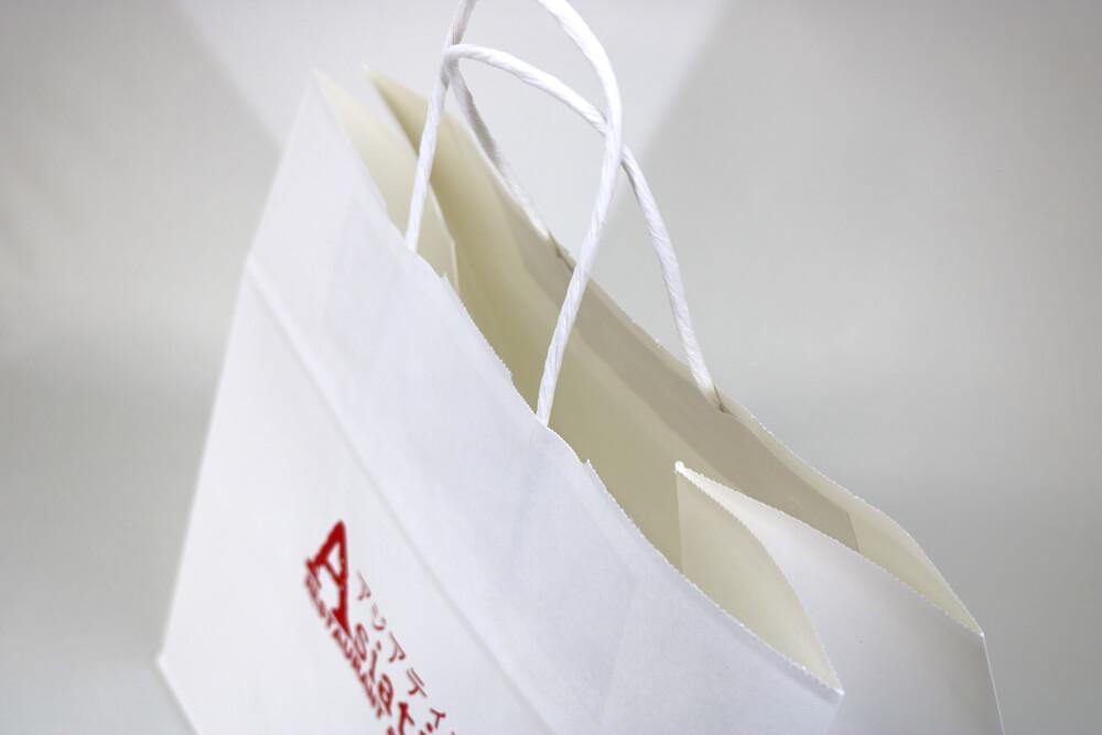 片艶クラフト(白)表面加工なし、シルク印刷1色のセミオーダー紙袋の入れ口画像
