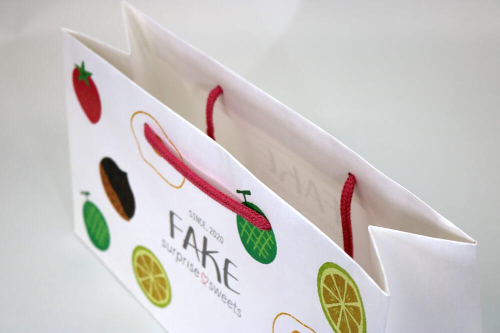 晒クラフト120g/㎡、オフセット印刷カラー4色の別注紙袋の入れ口画像