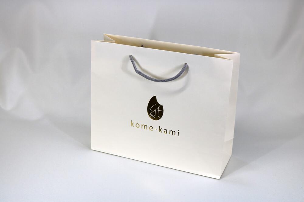 kome-kami素材、片面1カ所箔押しのセミオーダー紙袋