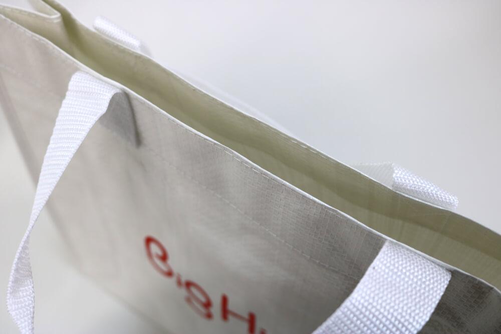 PPワリフのシルク印刷片面1色のセミオーダークロスレジャーバッグの入れ口画像