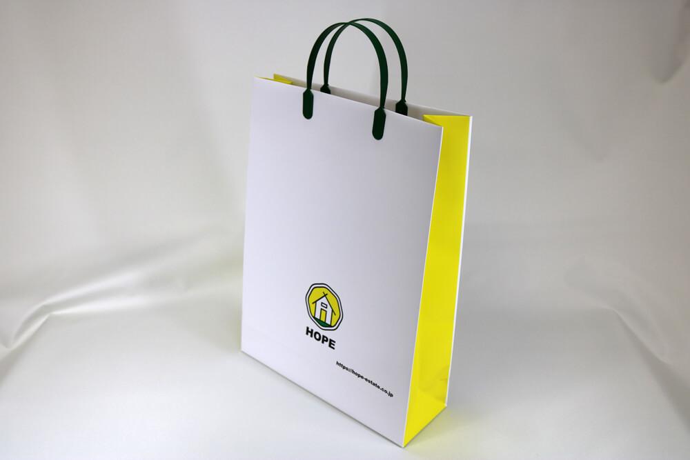 コート紙表面マットPP貼り、オンデマンド印刷カラー4色の別注紙袋